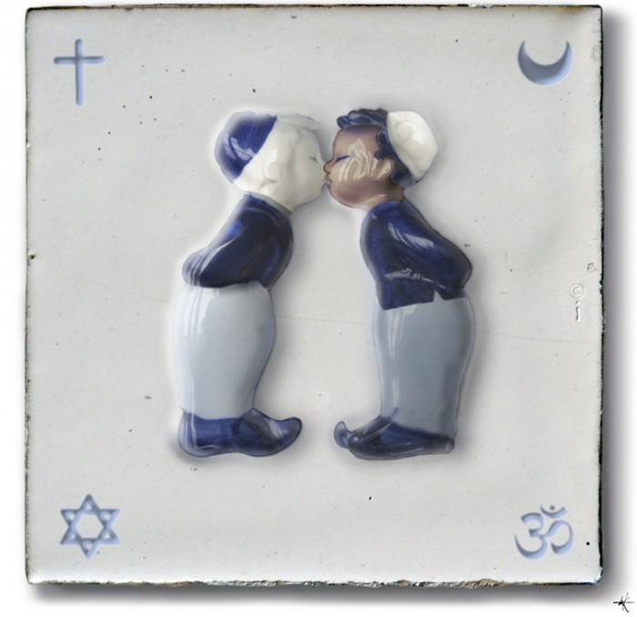 Illustratie van Ien van Laanen - tegel tolerantie